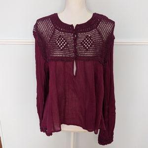 Free People plum crochet Boho blouse S